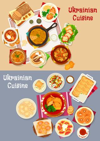 Ukrainische Küche Restaurant Abendessen Icon Set Design Standard-Bild - 83982376