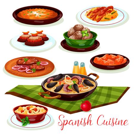 スペイン料理伝統的な夕食汚濁アイコン 写真素材 - 83982377