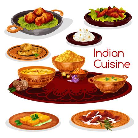 インド料理ターリー料理漫画のアイコン デザイン