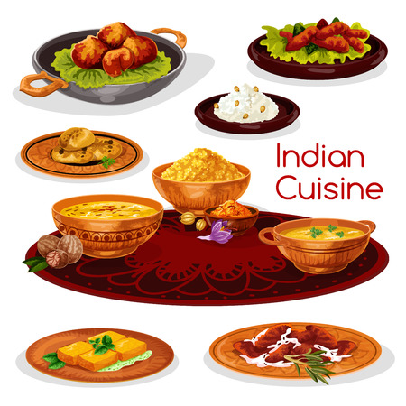 Indiase keuken Thali gerechten cartoon icon design