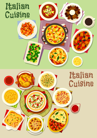 Italian cuisine pasta dishes icon set, food design Illustration
