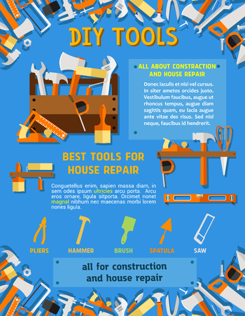 House repair tool and carpentry equipment poster