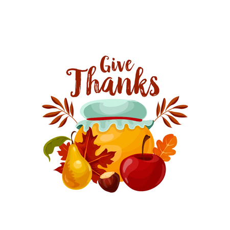 Thanksgiving holiday icon of autumn fruit and leaf Imagens - 84852580