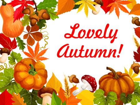 秋の葉とカボチャのフレーム、秋ポスター デザイン