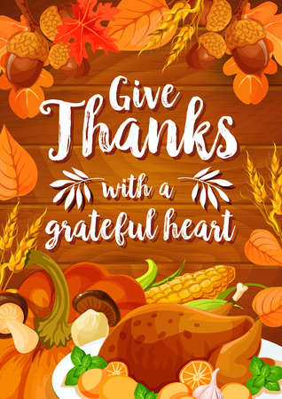 Thanksgiving Day dinner banner on wood background Ilustração