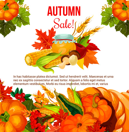 추수 감사절 휴가를위한 가을 판매 제안 포스터 일러스트