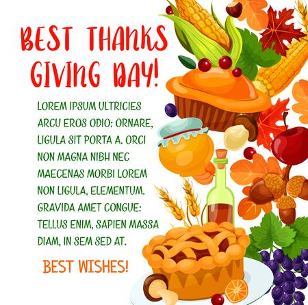 Thanksgiving day poster met herfst oogst symbool