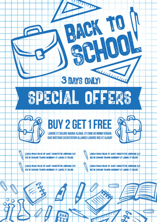 Back to School vector sale offer poster Ilustracja