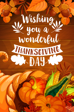 Thanksgiving cornucopia on wood background poster Imagens - 84775414