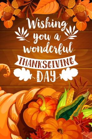 Thanksgiving cornucopia on wood background poster