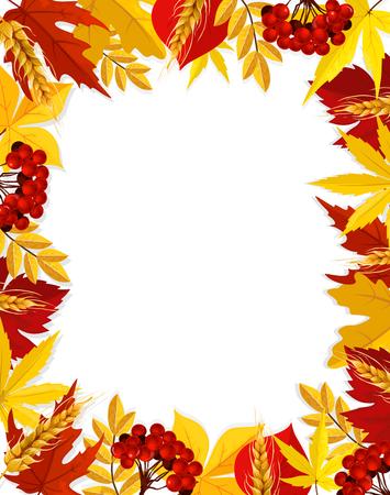 ベクトルの葉紅葉空の秋フレーム ポスター