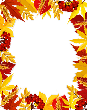 Autumn vector leaf foliage blank Fall frame poster