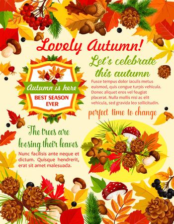 Plantilla de banner de otoño con hoja de naturaleza de otoño Foto de archivo - 84775416