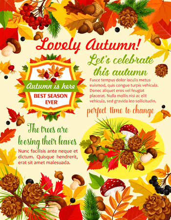 Autumn banner template with fall nature leaf