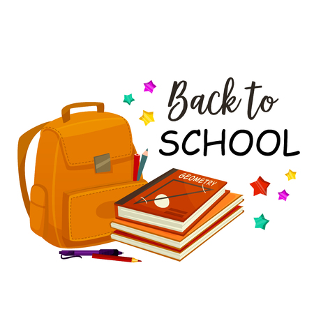 Retour à l & # 39 ; école vecteur sac à dos Banque d'images - 84775421