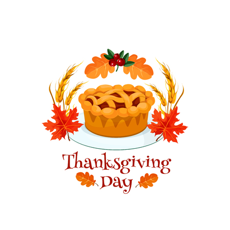 Thanksgiving Day autumn holiday pumpkin pie symbol