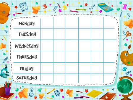 학교 편평한 벡터 시간표 계획 등을 맞댄