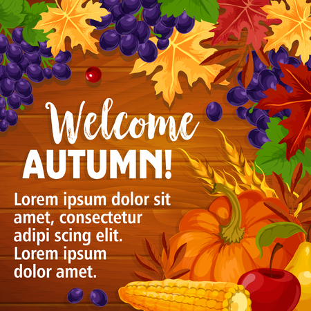 Autumn or Welcome Fall vector poster of foliage harvest Ilustração