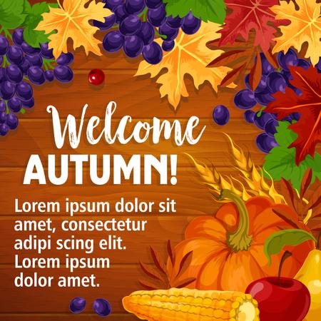 Herfst of welkom Herfst vector poster van gebladerte oogst
