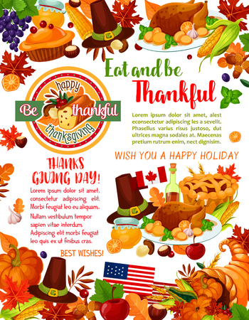 Thanksgiving Day holiday greeting banner template
