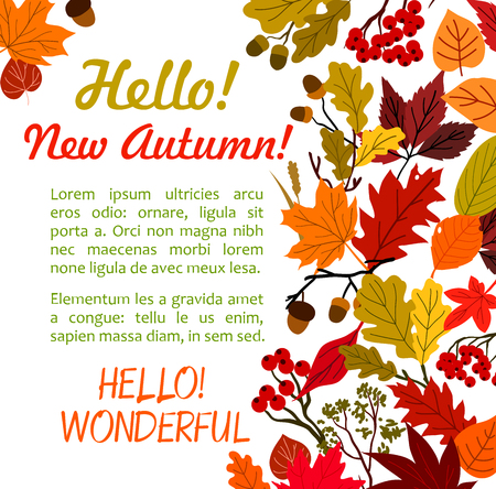 Hello Autumn poster template with fall leaf border Ilustração