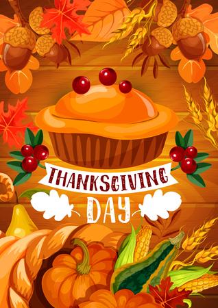 Thanksgiving pumpkin pie banner of autumn holiday.