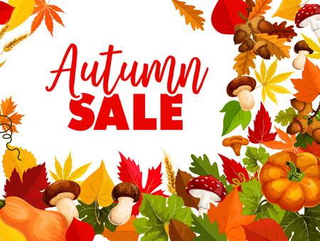 Autumn sale, fall season discount offer poster