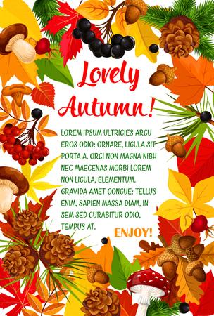 秋の葉とキノコのポスターのテンプレート デザイン  イラスト・ベクター素材
