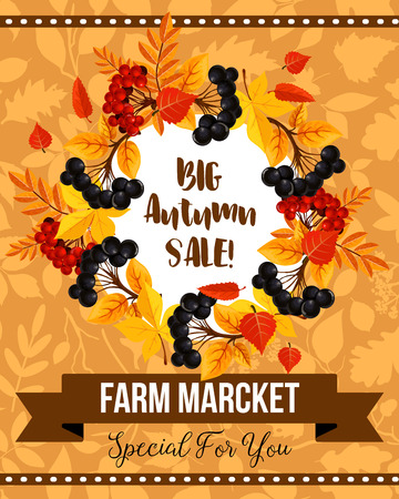 Autumn sale banner with fall leaf and berry wreath