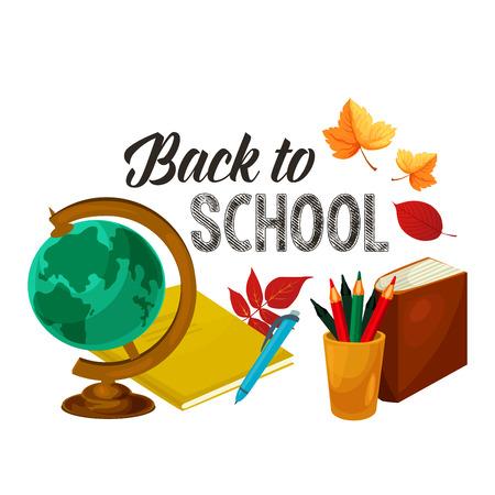 地理レッスン世界地球地図の学校ポスターに戻る秋もみじやナナカマドの葉します。  イラスト・ベクター素材