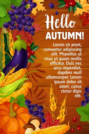こんにちは挨拶ポスターや季節のカード秋の収穫。