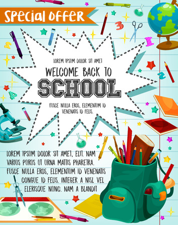 Back to School sale or special promo offer poster for September school season discount. Illustration