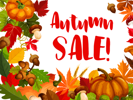 Autumn seasonal sale offer promotion poster.