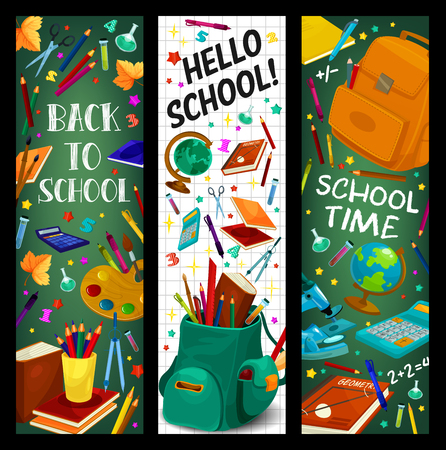 Back to School vector stationery banners set Stock Illustratie