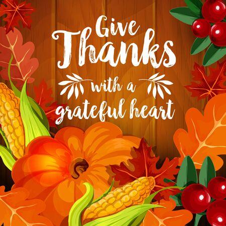 가을 휴가 디자인을위한 추수 감사절 인사말 카드