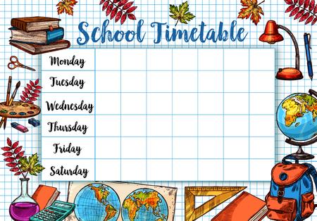Back to School sketch vector timetable schedule