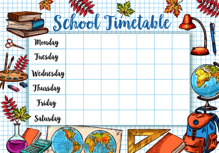 Back to School schets vector tijdschema schema Stockfoto - 84713474