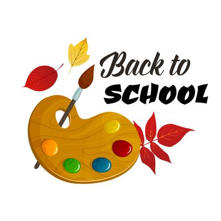 Back to School vector paint brush autumn poster Illustration