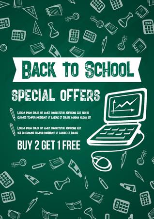 戻る学校販売ポスター緑の学校黒板パターン背景に割引特別なプロモーション。  イラスト・ベクター素材