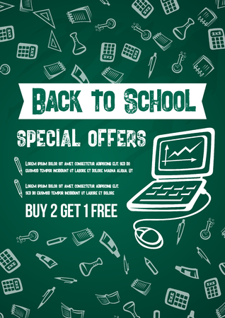 Back to School sale poster with discount special promo on green school chalkboard pattern background.