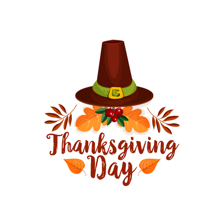 Thanksgiving Day icon of pilgrim hat, autumn leaf