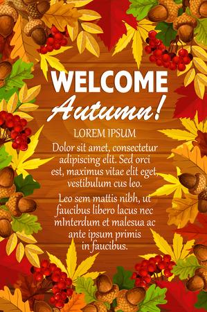 Willkommen Herbst Poster Vorlage der saisonalen Laub fallen. Standard-Bild - 84712537