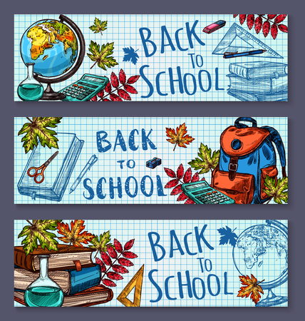 Back to School banners on checkered pattern page background. Banco de Imagens - 84712563