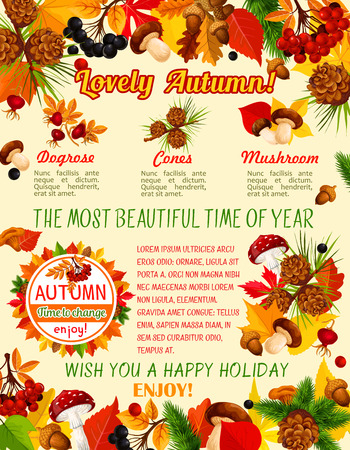 Autumn leaf, mushroom and berry banner template of fall season holiday.