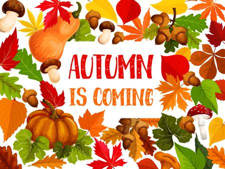 秋の紅葉と秋の収穫野菜のウェルカム バナー。  イラスト・ベクター素材