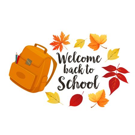 Back to School vector backpack bag in leaves Illusztráció
