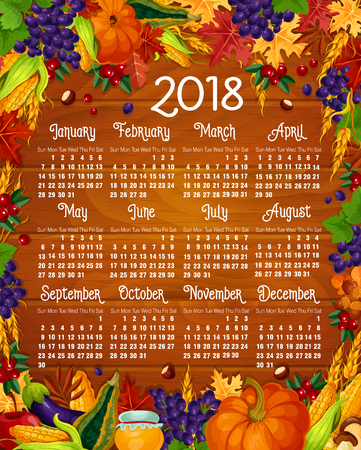 Autumn calendar 2018 vector acorn leaf, pumpkin