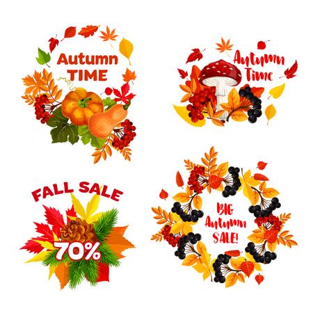 Autumn sale shopping discount vector icons set Ilustrace