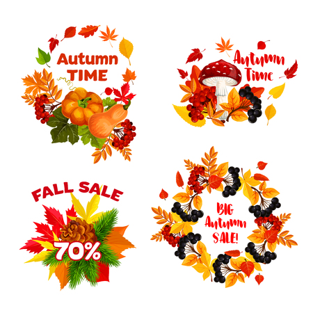 Autumn sale shopping discount vector icons set Illustration