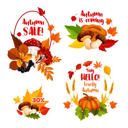 Autumn sale discount shopping vector icons set Illustration